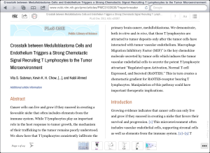 Screen capture from an eReader showing an article from PubMed