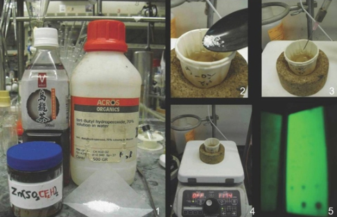 Composite image showing several chemicals and the results as they are mixed