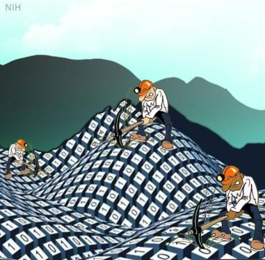 Cartoon of three men mining mountains of data