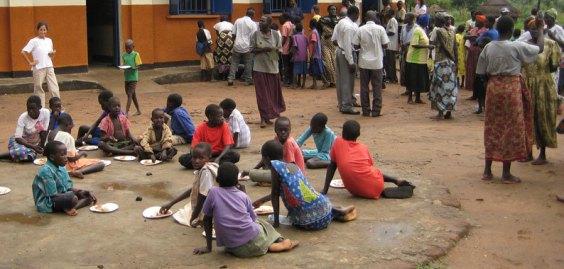 Rural Uganda village gathering
